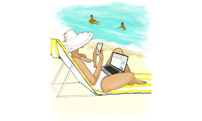 illustration of woman on beach working on laptop and phone