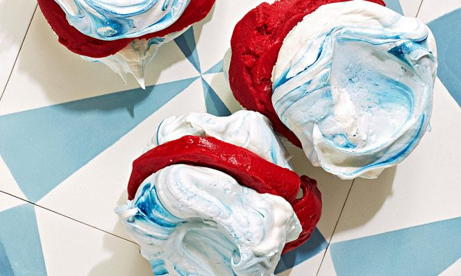 sorbet sandwiches with swirled meringue